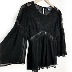 Anthropologie Lil Star Black Lace Babydoll Blouse
